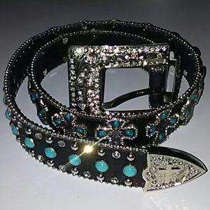 Accessories - Genuine leather rhinestone cowboy belt